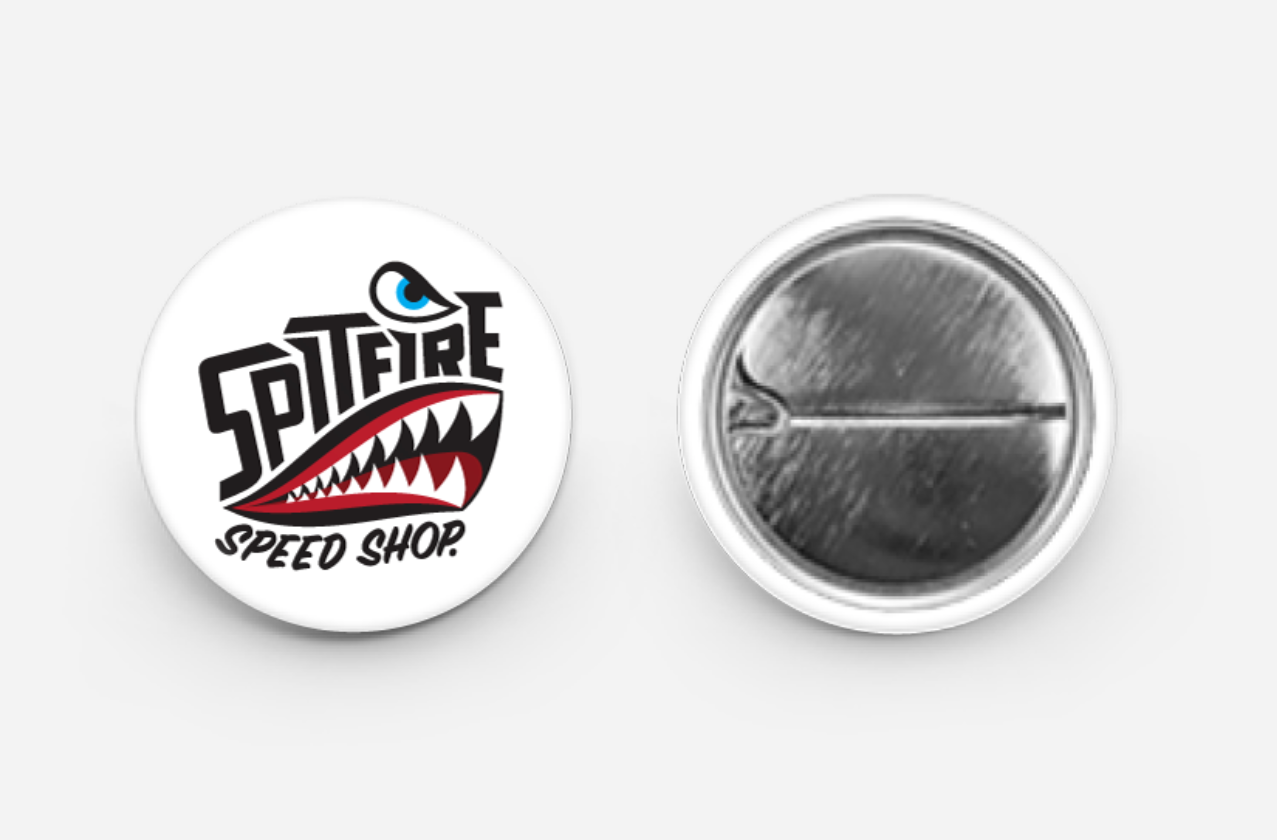 Spitfire Speed Shop Button Pin Badge