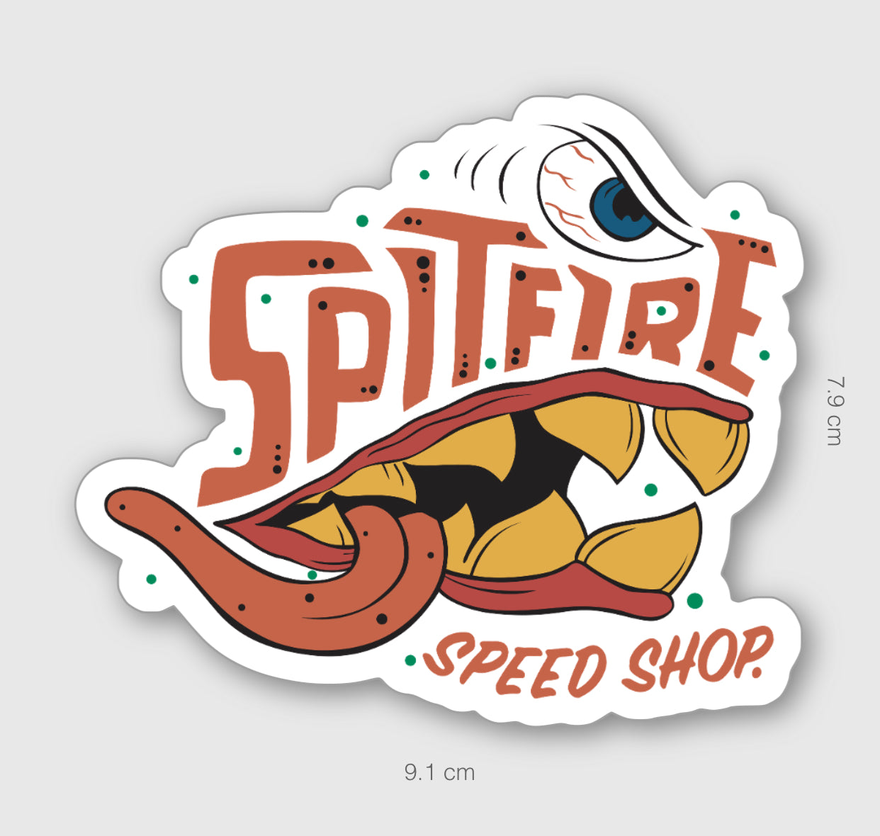 Spitfire Cartoon Sticker Large
