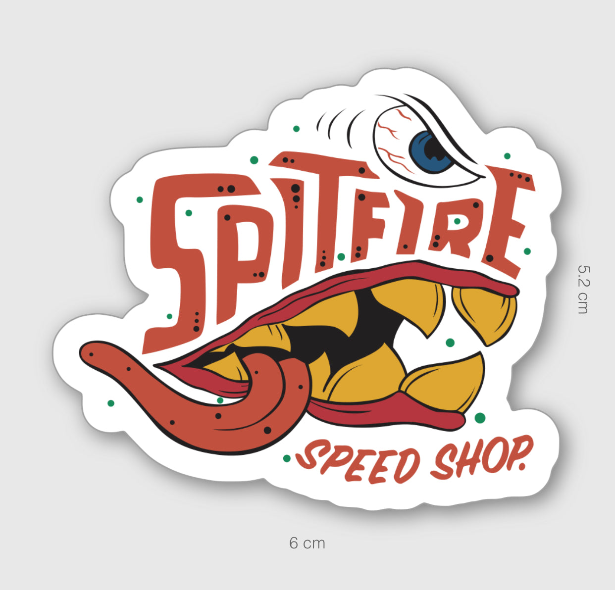 Spitfire Cartoon Sticker Small