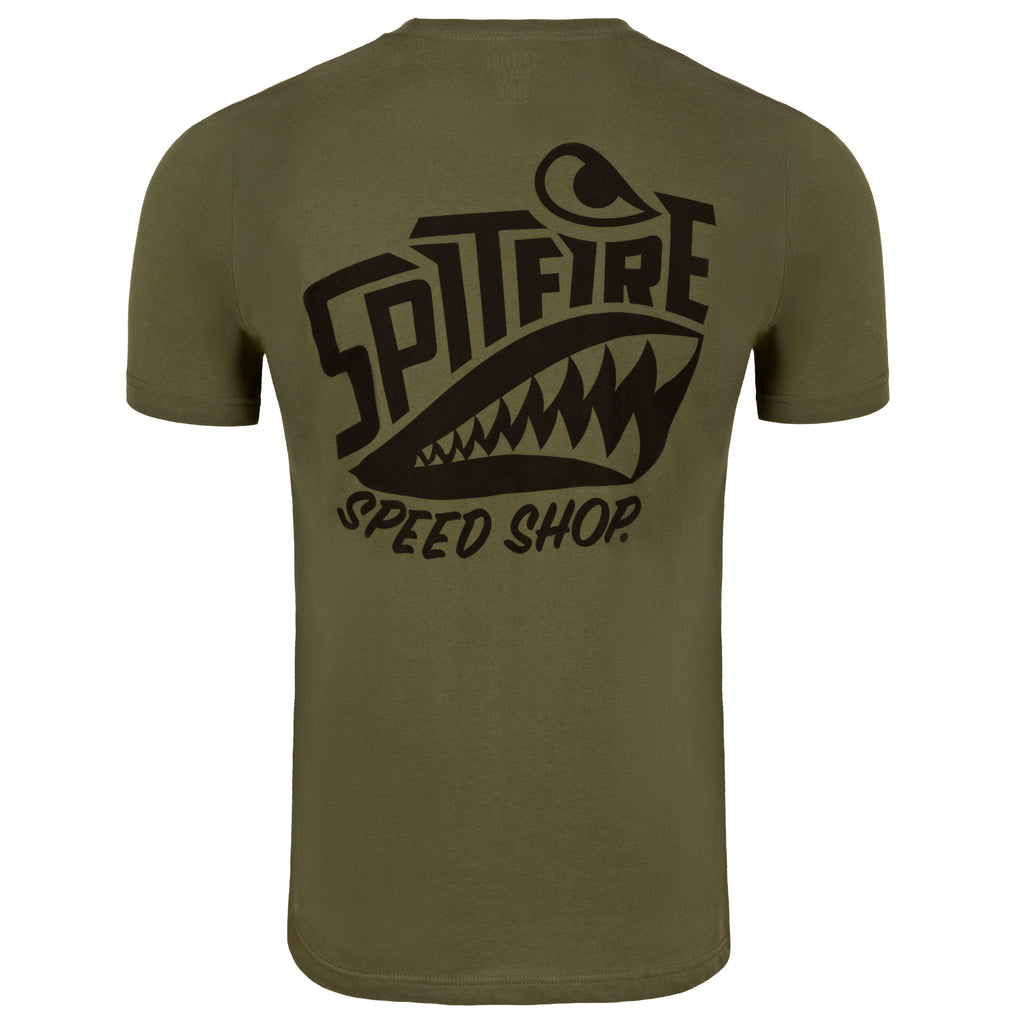 Spitfire Khaki Green Tee With Black Logo