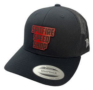 Spitfire Speed Shop Trucker Cap Black With Fire Text Logo