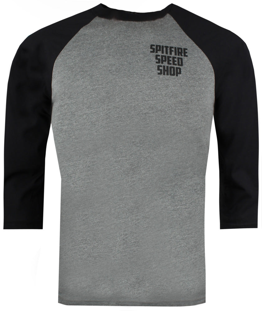 Spitfire Baseball Tee Grey With Black Logo