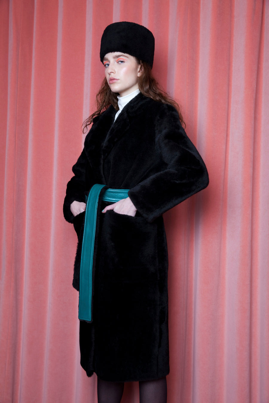 Viktoria Coat Black/Emerald Green