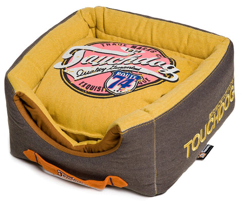 Touchdog Convertible and Reversible Vintage Printed Squared 2-in-1 Collapsible Dog House Bed - Dog Shop Deals