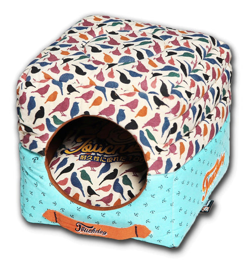 Touchdog Chirpin-Avery Convertible and Reversible Squared 2-in-1 Collapsible Dog House Bed - Dog Shop Deals