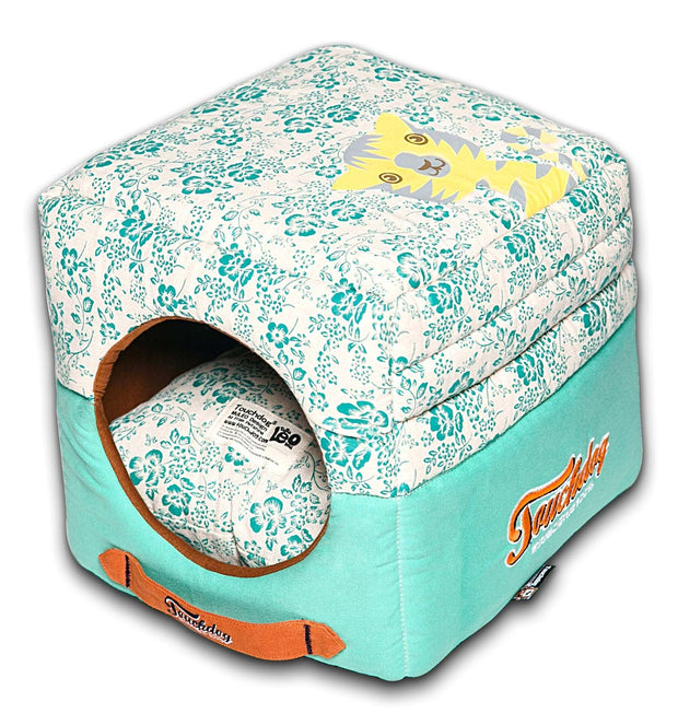 Touchdog Floral-Galore Convertible and Reversible Squared 2-in-1 Collapsible Dog House Bed - Dog Shop Deals