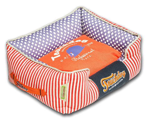 Touchdog Polka-Striped Polo Easy Wash Rectangular Fashion Dog Bed - Dog Shop Deals