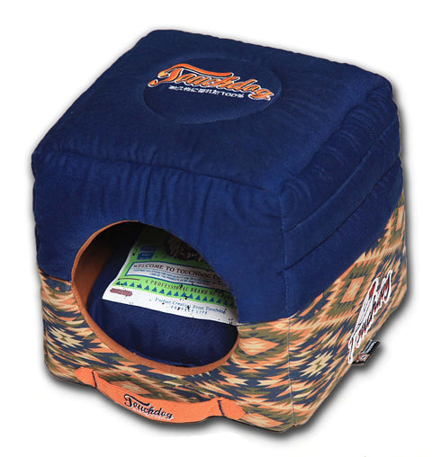 Touchdog 70's Vintage-Tribal Throwback Convertible and Reversible Squared 2-in-1 Collapsible Dog House Bed - Dog Shop Deals