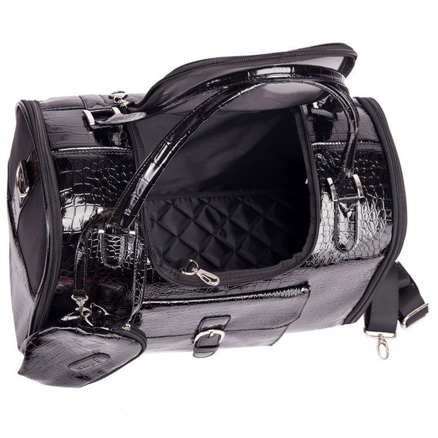 Lavish Series | Pet Luxury Black Croc Dog Carrier - Dog Shop Deals