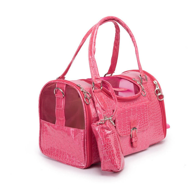 Lavish Series | Pet Luxury Pink Croc Dog Carrier - Dog Shop Deals