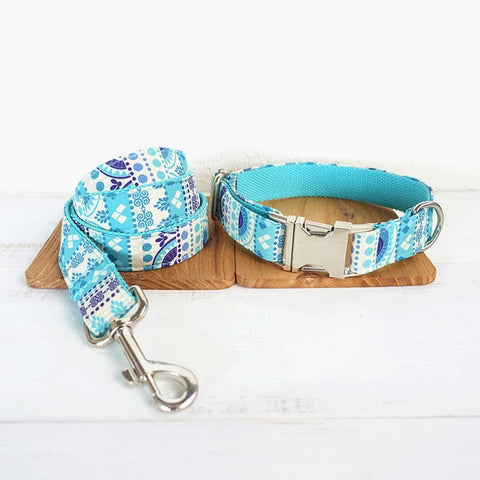 THE FOLK BLUE | Luxury Designer Personalised Dog Collar and Leash - Dog Shop Deals