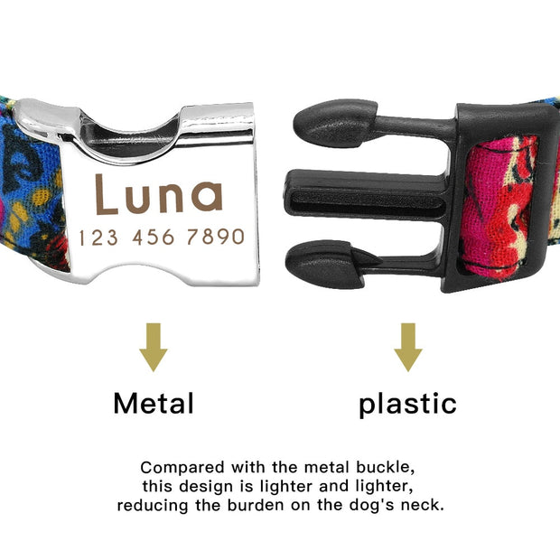 LUNAR | Dog Collar with Laser Engraved Personalised Buckle - Dog Shop Deals
