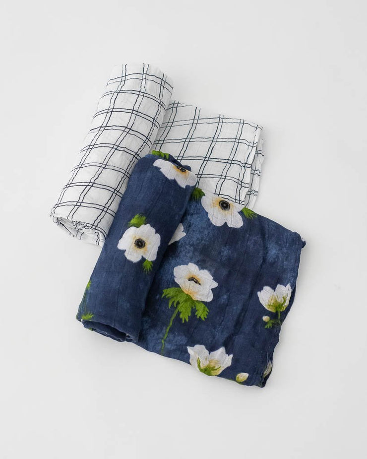 Deluxe Muslin Swaddle 2 Pack -  White Anemone Set