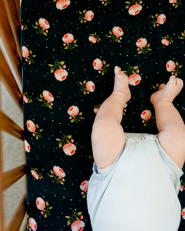 Cotton Muslin Mini Crib Sheet - Midnight Rose