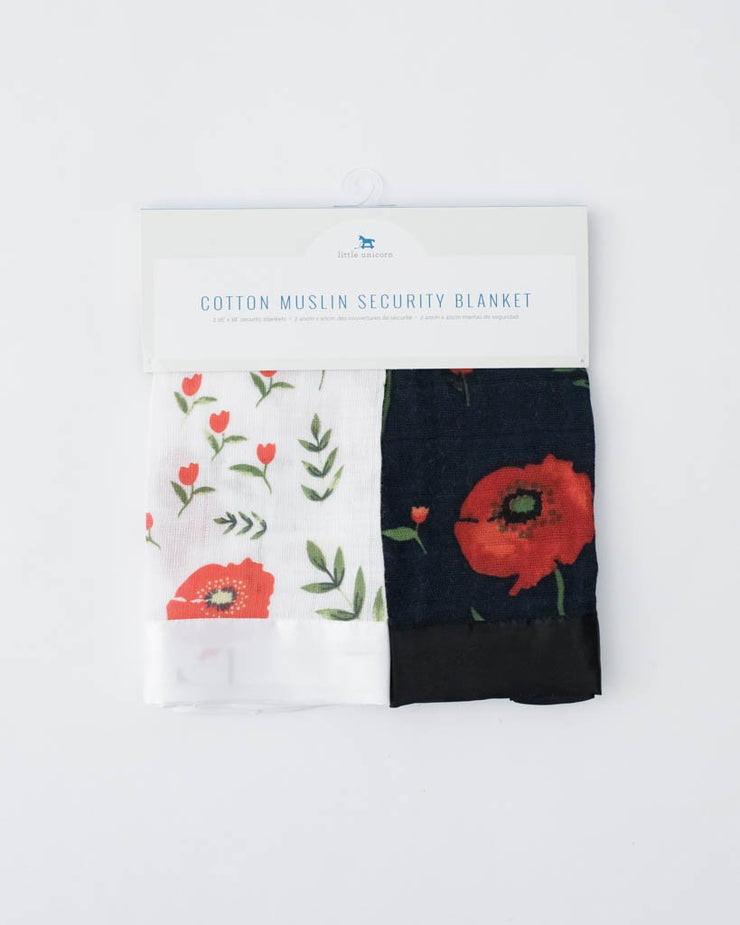 Cotton Muslin Security Blankets - Summer Poppy + Dark Summer Poppy