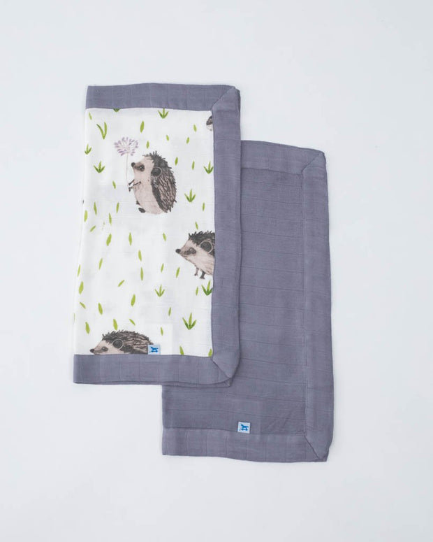 Deluxe Muslin Security Blanket 2 Pack - Hedgehog + Charcoal