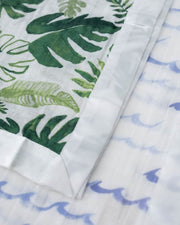 Cotton Muslin Security Blankets - High Tide + Tropical Leaf