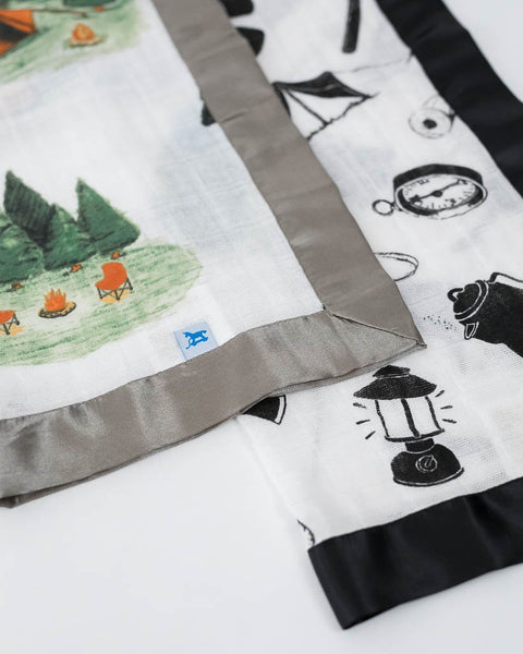 Cotton Muslin Security Blankets - Happy Camper + Camp Gear
