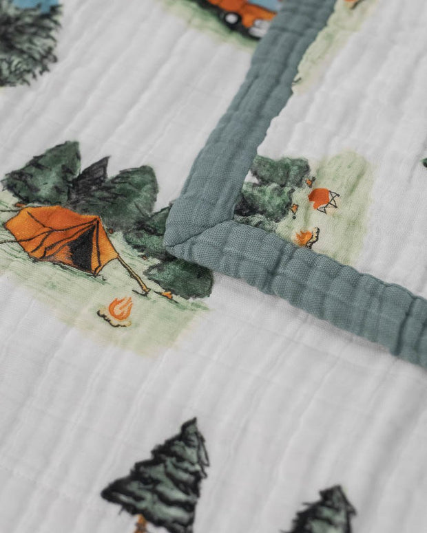 Big Kid Cotton Muslin Quilt- Happy Camper