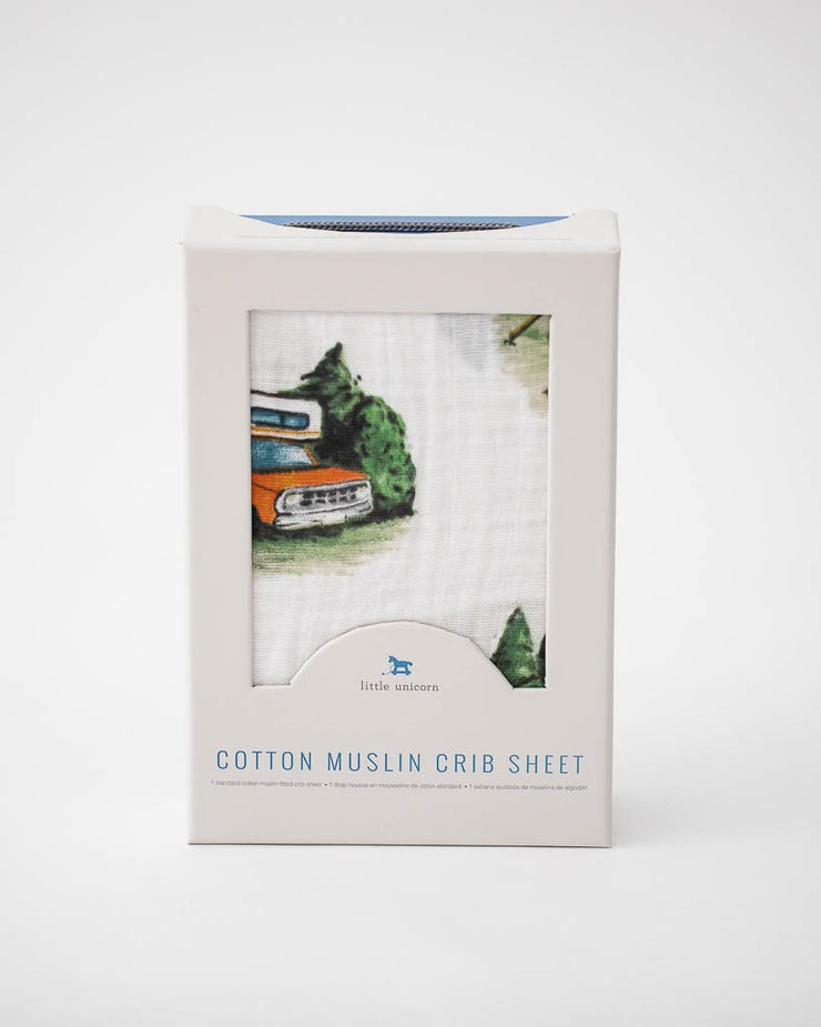 Cotton Muslin Crib Sheet - Happy Camper