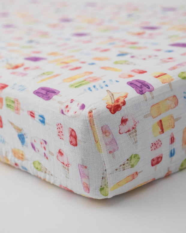Cotton Muslin Crib Sheet - Brain Freeze