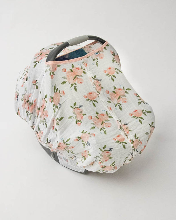 Cotton Muslin Car Seat Canopy - Watercolor Roses