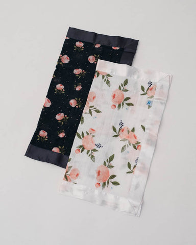 Cotton Muslin Security Blankets - Watercolor Roses