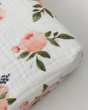Cotton Muslin Changing Pad Cover - Watercolor Roses