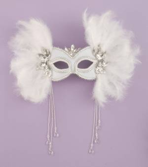 Venetian Mask w White Feathers