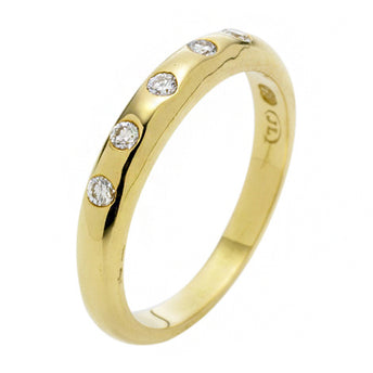 18CT YELLOW GOLD DIAMOND BABY DOME RING