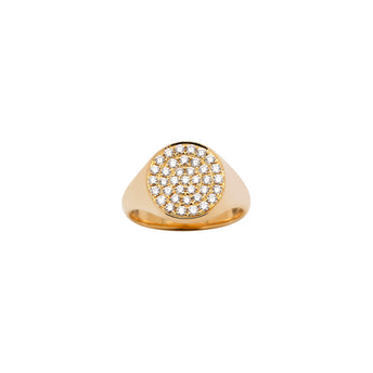 18CT YELLOW GOLD DIAMOND SIGNET RING