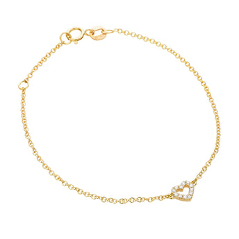 18CT DIAMOND MINI HEART BRACELET