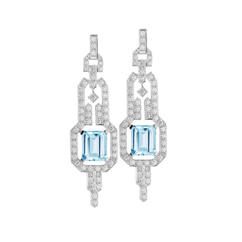 18CT AQUAMARINE AND DIAMOND EMPIRE EARRINGS