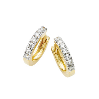 18CT YELLOW GOLD DIAMOND CUFF EARRINGS