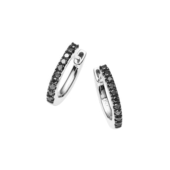 18CT WHITE GOLD BLACK DIAMOND CUFF EARRINGS