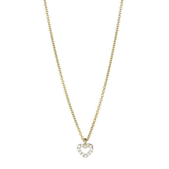 18CT YELLOW GOLD DIAMOND MINI HEART PENDANT