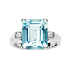 18CT AQUAMARINE AND DIAMOND HARLOW RING