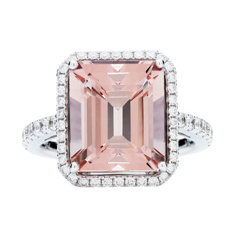 18CT PINK MORGANITE & DIAMOND ROCHESTER RING