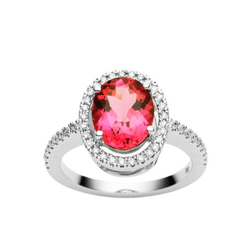BESPOKE 18CT PINK TOURMALINE & DIAMOND PICCADILLY RING