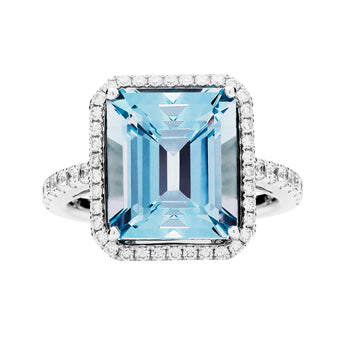18CT AQUAMARINE & DIAMOND ROCHESTER RING
