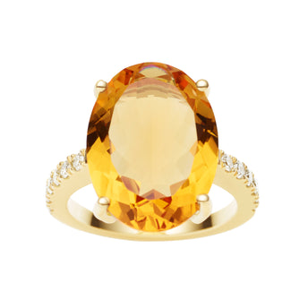 18CT CITRINE & DIAMOND BIANCA RING