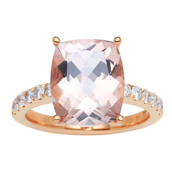 18CT PINK MORGANITE & DIAMOND LA DIVINA RING