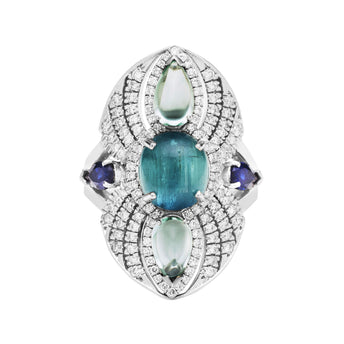 BESPOKE 18CT WHITE GOLD MADDISON CAT'S EYE BLUE TOURMALINE, SAPPHIRE & DIAMOND RING