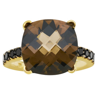 18YG SMOKY QUARTZ & BLACK DIAMOND TIVOLI RING
