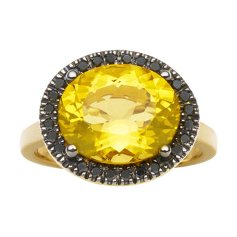 18CT HONEY QUARTZ & BLACK DIAMOND KAARINA RING