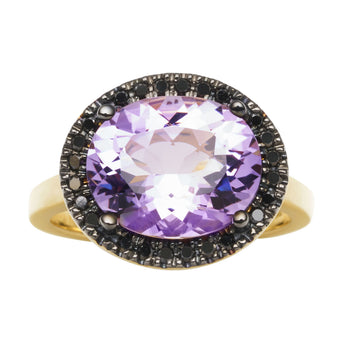 18CT ROSE DE FRANCE AMETHYST & BLACK DIAMOND KAARINA RING