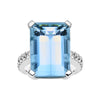 18CT WHITE GOLD AQUAMARINE & DIAMOND BESPOKE RING