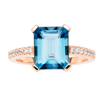 18CT LONDON BLUE TOPAZ & DIAMOND SARDINIA RING
