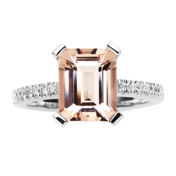 18CT PINK MORGANITE & DIAMOND SARDINIA RING