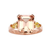 BESPOKE 18CT ROSE GOLD PINK MORGANITE & YELLOW DIAMOND RING